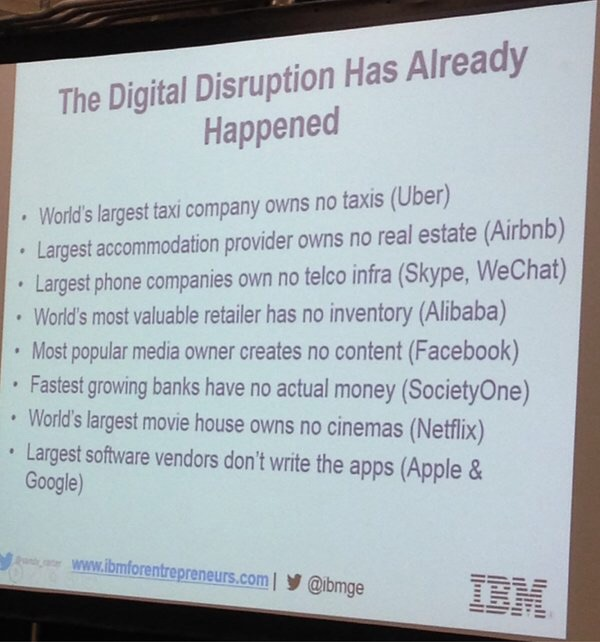 Disruption has already happend IBM: